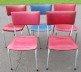Set of Five Retro Metal Stacking Chairs